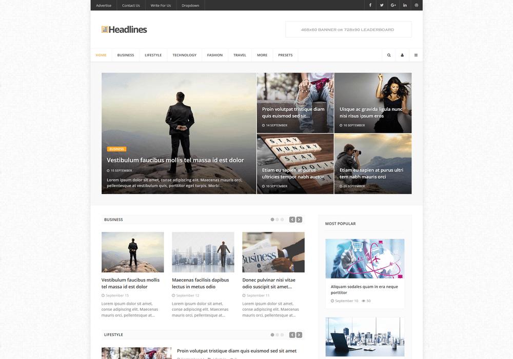 Meet Headlines - News, Magazine & Blog Gantry 5 Theme