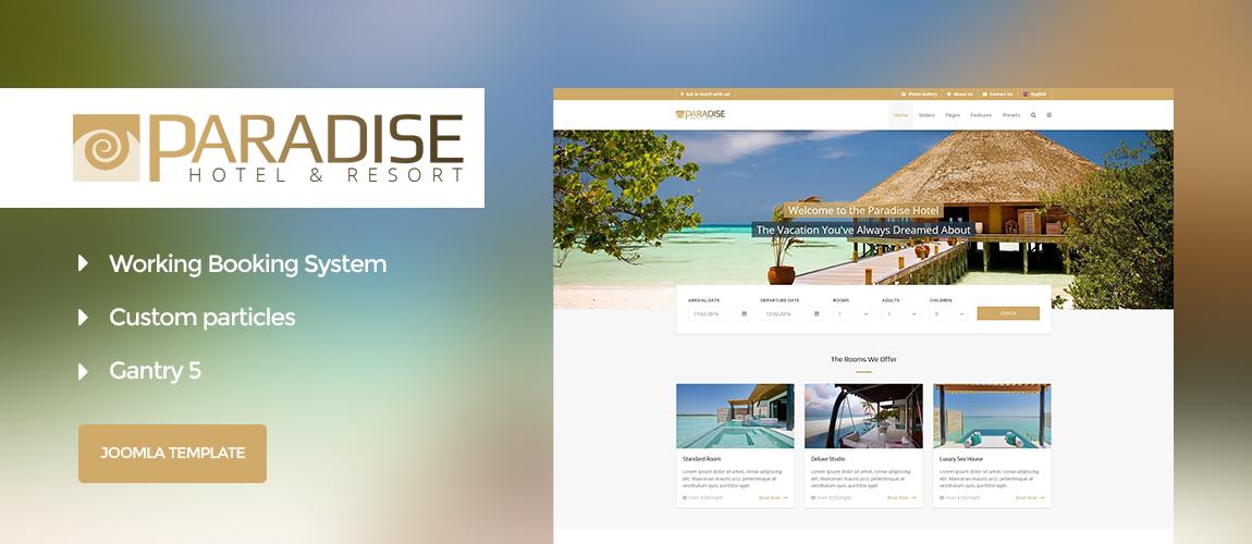 Paradise - Hotel & Booking Gantry 5 Joomla Template